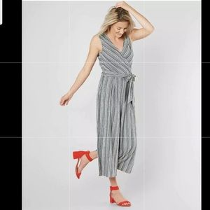 EyeShadow Brand Striped White and Navy Jumpsuit